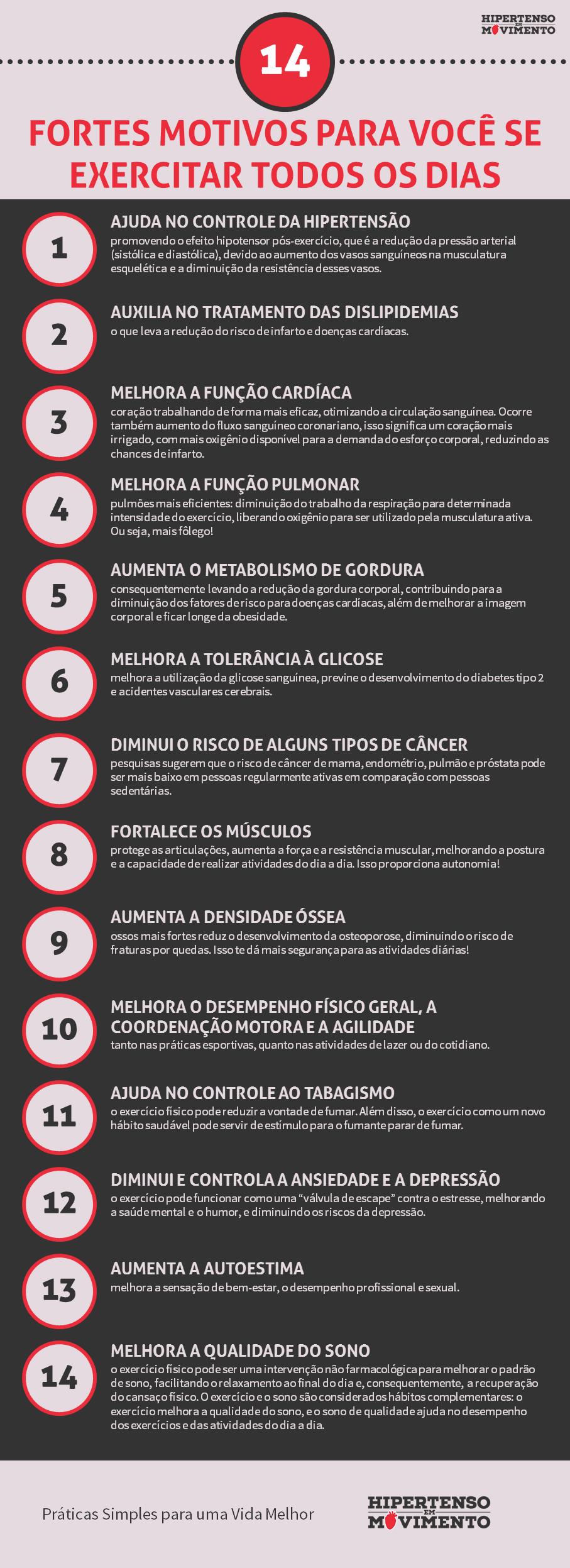 infográfico 14 fortes motivos para se exercitar